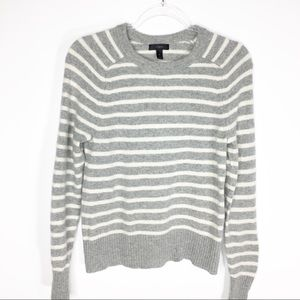 J. Crew Holly Wool Sweater Gray White Stripes